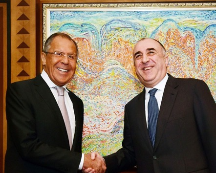 Russian Foreign Minister Sergei Lavrov (L) met with his Azerbaijani counterpart, Elmar Mammadyarov, in Baku on July 12 to discuss the Nagorno-Karabakh dispute. (TOFIK BABAYEV/AFP/Getty Images)