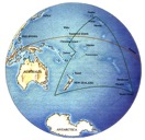 Map showing the location of Rapa Nui (Easter Island) within the Pacific Ocean and the Polynesian triangle.