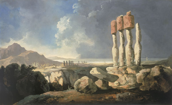 Figure 1. British artist William Hodges traveled to Easter Island (or Rapa Nui, as the island's inhabitants refer to it) in the 1770s, inspiring this painting of several of the stone statues that have made this locale famous. The island continues to draw both tourists and scientists, in part because of the mystery surrounding the fate of its civilization. A popular account of Rapa Nui's history casts the inhabitants as the perpetrators and victims of an ecological catastrophe that resulted from overexploiting the island's resources. New evidence from archaeological work and comparative ecology, however, reveals that this story may need to be rewritten. National Maritime Museum, London