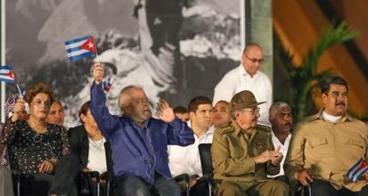 Dilma Rousseff, Lula, Raul Castro, Nicolas Maduro, aux funérailles de Fidel (photo Instituto Lula).