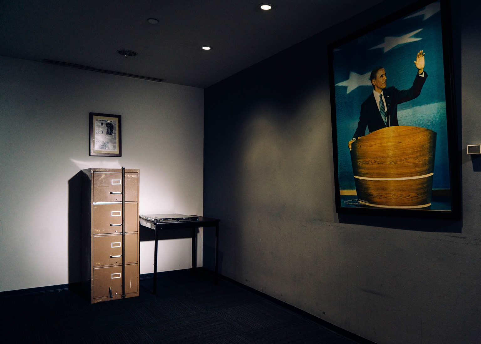 A filing cabinet broken into in 1972 as part of the Watergate burglary sits beside a computer server that Russian hackers breached during the 2016 presidential campaign at the DNC's headquarters in Washington. Justin T. Gellerson/ NYT
