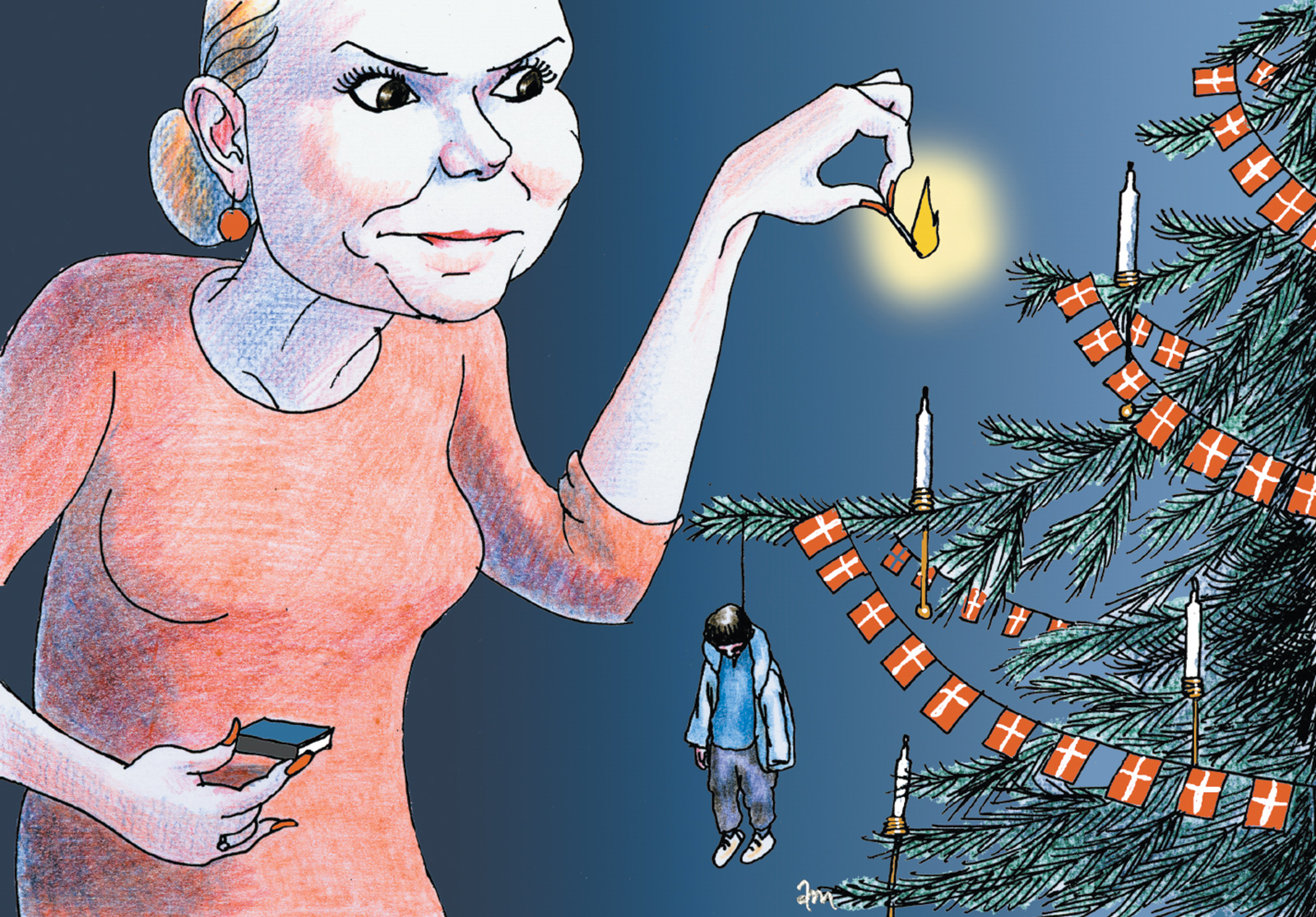 A cartoon published by the Danish newspaper Politiken showing Inger Støjberg, the country's integration minister, lighting candles on a Christmas tree that has a dead asylum-­seeker as an ornament, December 2015 (Anne-Marie Steen Petersen)