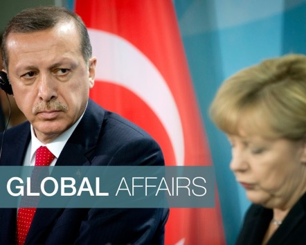 German Chancellor Angela Merkel (R) and Turkish President Recep Tayyip Erdogan hold a press conference in Berlin. (ODD ANDERSEN/AFP/Getty Images)