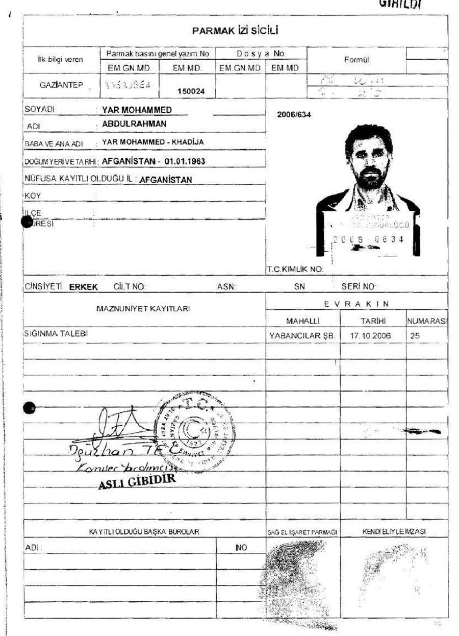 The police arrest report of Abd al-Hadi al-Iraqi.