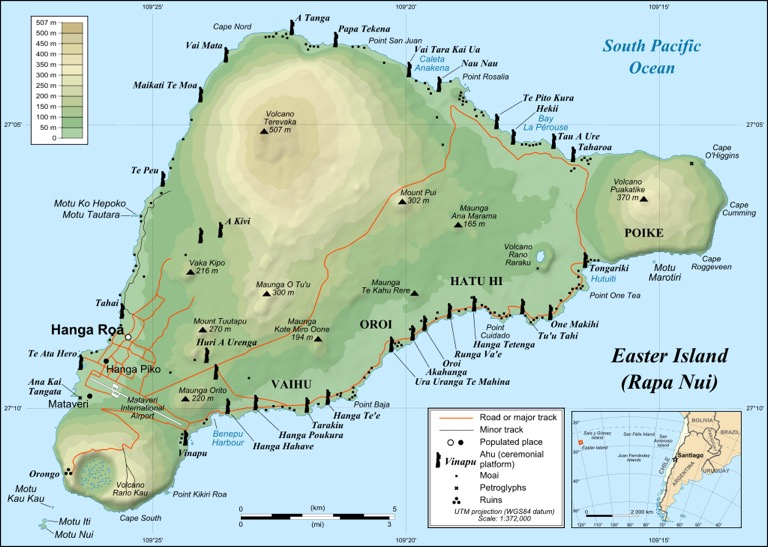 All the locations of the Moai on Rapa Nui. [PHOTO: wikimedia]