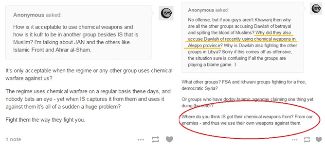 Dutch-Turkish jihadi Salih Yilmaz justifies the use of chemical weapons in response to a question posed to him on his blog and responds to a critique of the Islamic State by saying the jihadist group seized its chemical weapons stockpiles from its opponents.