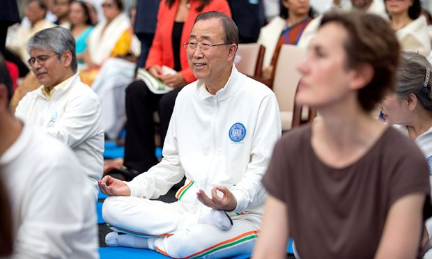 Ban Ki-moon takes part in the inaugural International Yoga Day in 2015. Photograph: Xinhua/Rex/Shutterstock