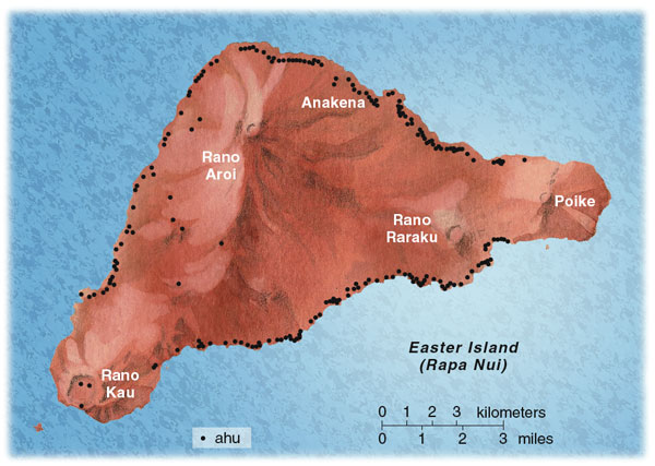 Figure 3. Although it is a small island, Rapa Nui has an abundance of archaeological riches. The author led excavations on Anakena Beach, thought to be the location of the earliest human settlements. Other important archaeological sites include three crater-tipped peaks—Rano Kau, Rano Aroi and Rano Raraku—and the Poike Peninsula. Black dots indicate the positions of numerous ahu, foundation stones supporting the island's impressive carved-rock statues. Tom Dunne