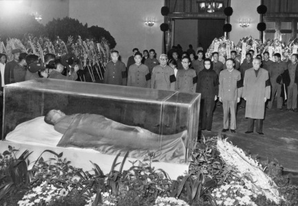 Party and state leaders stand vigil before the remains of Mao Zedong, including, from left, Hua Guofeng, Wang Hongwen, Ye Jianying, Zhang Chunqiao, Jiang Qing, Yao Wenyuan, and Li Xiannian, in this image released by Xinhua news agency dated September 13, 1976. Xinhua/AFP/Getty Images