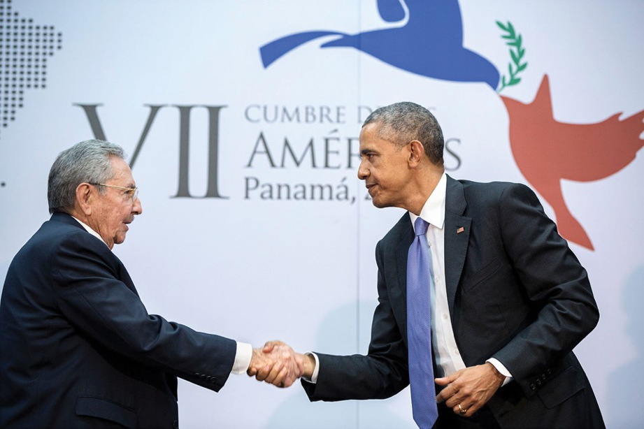 Obama and Cuban President Raúl Castro at the Summit of the Americas last spring (Pete Souza / White House)