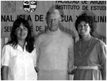 Jo Anne Van Tilburg (right), with Thor Heyerdahl, and Patricia Vargas Casanova at the Premier Congreso Isla de Pascua y Polinesia Oriental. ©1984 EISP/JVT/ Photo: D. C. Ochsner