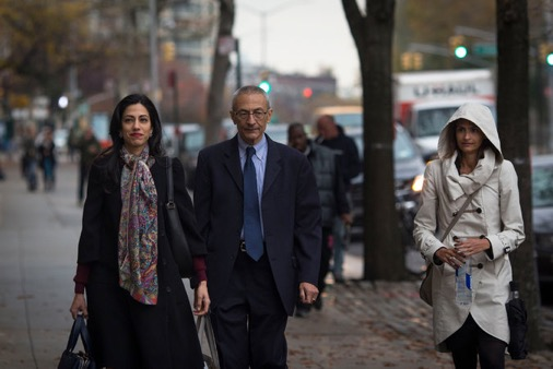 Mr. Podesta, center, with Huma Abedin, Hillary Clinton's closest aide, in Brooklyn the day after the election. Hackers gained access to tens of thousands of Mr. Podesta's emails. Dave Sanders/The New York Times