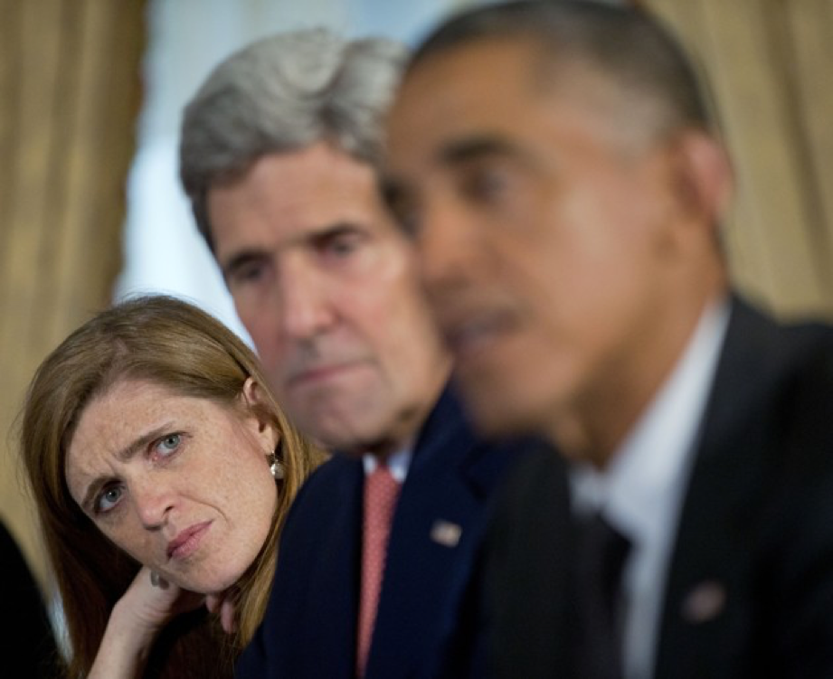 U.S. Ambassador to the United Nations Samantha Power (left) and Secretary of State John Kerry (center) listen as Obama speaks about the Ebola epidemic in September 2014. (Pablo Martinez Monsivais / AP)
