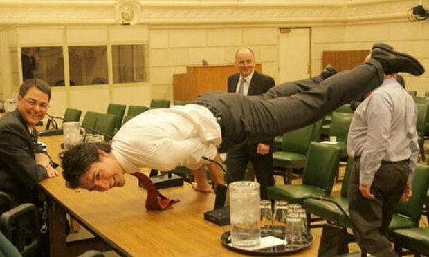 Justin Trudeau blends the peacock pose with political peacocking. Photograph: justintrudeau/twitter.com