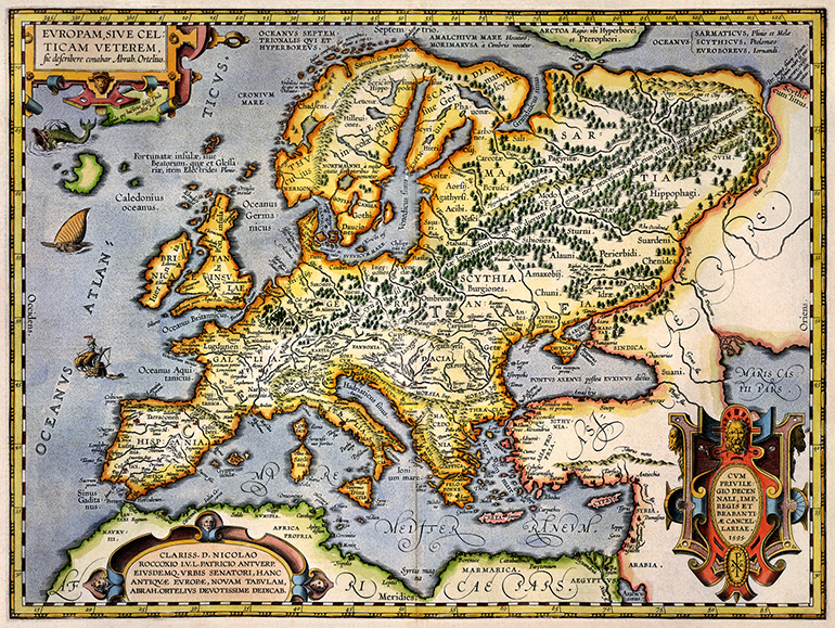 Antique Map of Europe 1595 the long goodbye